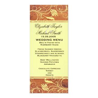 Luxury Elegant Brown Wood Floral Wedding Menu 10 Cm X 24 Cm Invitation Card