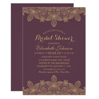 Luxury Elegant Gold Lace Plum Purple Bridal Shower Card