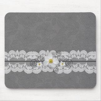 Luxury Elegant Grey Lace Mousepad