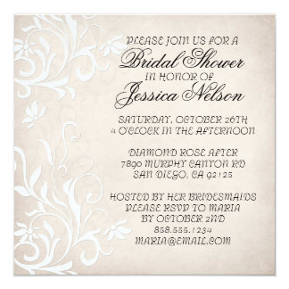 Luxury Elegant Light Beige Floral Shower Invite