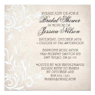 "Luxury Elegant Light Beige Floral Shower Invite 5.25"" Square Invitation Card"
