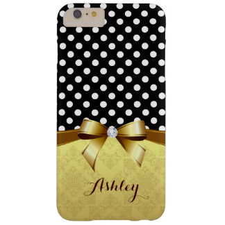 Luxury Elegant Polka Dots Gold Ribbon Diamond Barely There iPhone 6 Plus Case