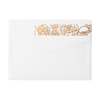 Luxury Faux Gold Foil Floral Wedding Modern Wraparound Return Address Label
