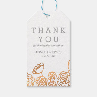 Luxury Faux Gold Foil Floral Wedding Thank You Gift Tags