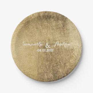 Luxury faux gold leaf wedding 7 inch paper plate