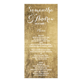 Luxury faux gold leaf wedding menu