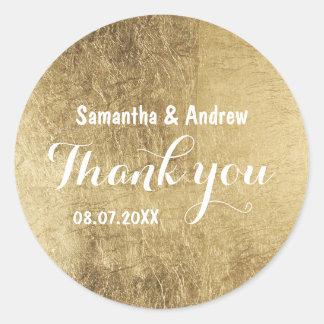 Luxury faux gold leaf wedding Thank you Round Sticker