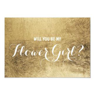 Luxury faux gold leaf Will you be my flower girl 9 Cm X 13 Cm Invitation Card