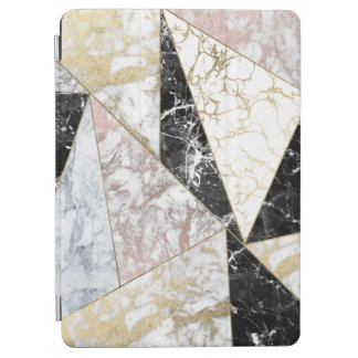 Luxury faux rose gold black white chic marble iPad air cover