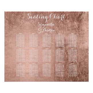 Luxury faux rose gold leaf table seating chart poster