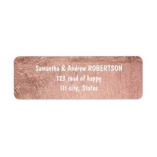 Luxury faux rose gold leaf wedding return address label