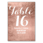 Luxury faux rose gold leaf wedding table number
