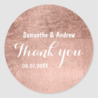 Luxury faux rose gold leaf wedding Thank you Round Sticker