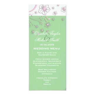 Luxury Floral Blossom Green Wedding Menu 10 Cm X 24 Cm Invitation Card