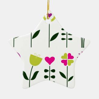 Luxury folk Flowers on white Ceramic Ornament