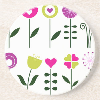Luxury folk Flowers on white Coaster