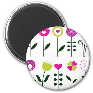 Luxury folk Flowers on white Magnet