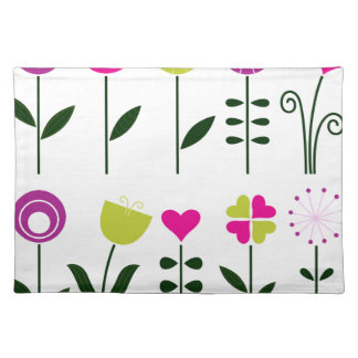 Luxury folk Flowers on white Placemat