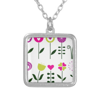 Luxury folk Flowers on white Silver Plated Necklace