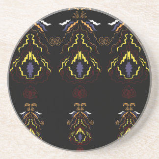 Luxury folk mandalas on black coaster