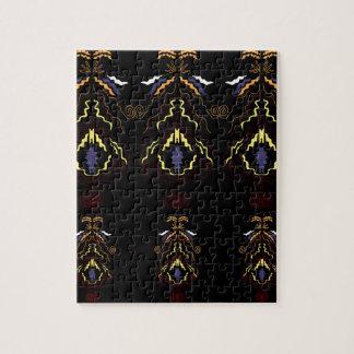 Luxury folk mandalas on black jigsaw puzzle
