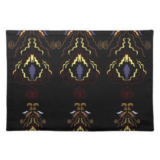Luxury folk mandalas on black placemat