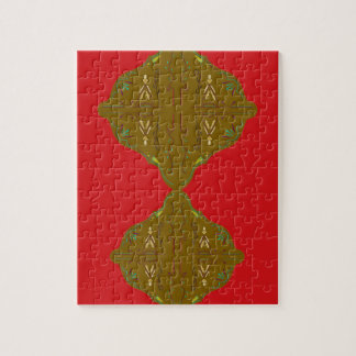 Luxury Folk ornaments brown red Jigsaw Puzzle
