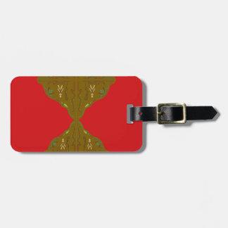 Luxury Folk ornaments brown red Luggage Tag