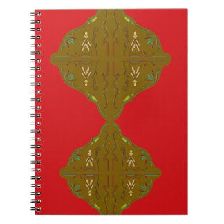 Luxury Folk ornaments brown red Notebooks