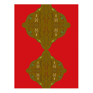 Luxury Folk ornaments brown red Postcard