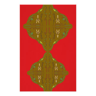 Luxury Folk ornaments brown red Stationery