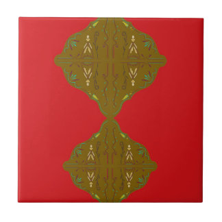 Luxury Folk ornaments brown red Tile