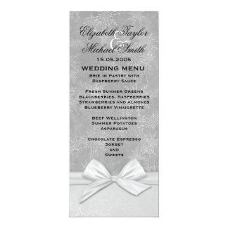 Luxury Frosty Ribbon Grey Winter Menu 10 Cm X 24 Cm Invitation Card