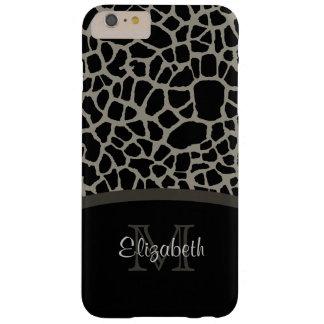 Luxury Giraffe Print Elegant Monogram and Name Barely There iPhone 6 Plus Case
