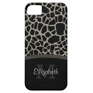 Luxury Giraffe Print Elegant Monogram and Name Case For The iPhone 5