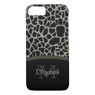 Luxury Giraffe Print Elegant Monogram and Name iPhone 7 Case