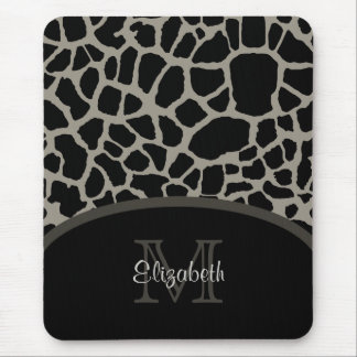 Luxury Giraffe Print Elegant Monogram and Name Mouse Pad