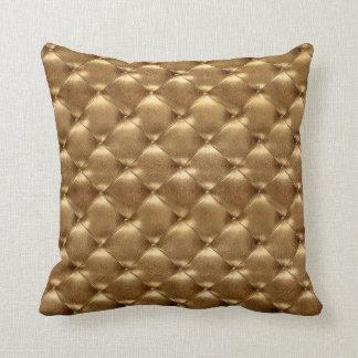 Luxury Glam Bronze Tufted Leather Opulent Gold Cushion