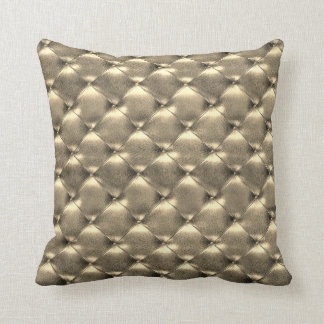 Luxury Glam Champaign Tufted Leather Opulent Gold Cushion