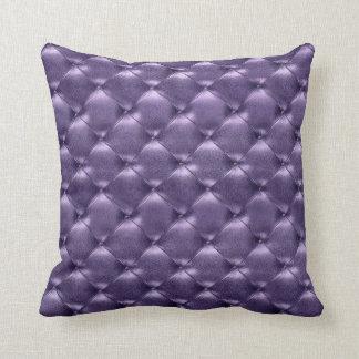 Luxury Glam Tufted Leather Opulent Amethyst Purple Cushion
