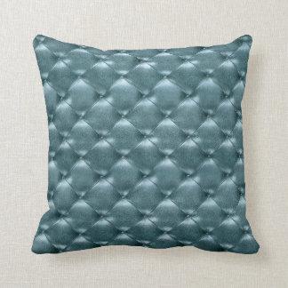 Luxury Glam Tufted Leather Opulent Aquatic Blue Cushion