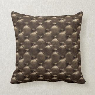 Luxury Glam Tufted Leather Opulent Bronze Cigaro Cushion