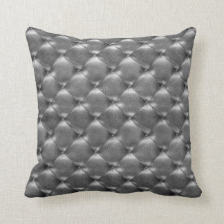 Luxury Glam Tufted Leather Opulent Graphite Gray Cushion