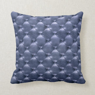 Luxury Glam Tufted Leather Opulent Sapphire Blue Cushion