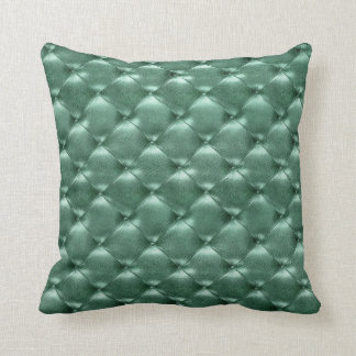 Luxury Glam Tufted Leather Opulent Teal Aquatic Cushion