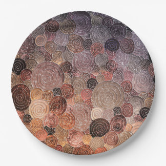 Luxury Glitter Dots and Circles - Warm Brown Paper Plate