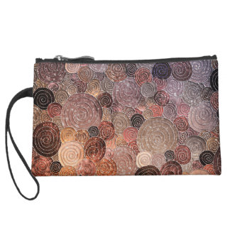 Luxury Glitter Dots and Circles - Warm Brown Suede Wristlet