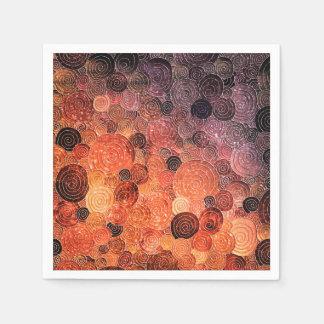Luxury Glitter Dots and Circles - Warm Orange Disposable Napkin