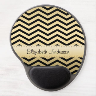 Luxury Gold and Black Chevron With Name Gel Mouse Pad