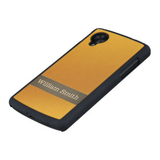 Luxury gold and carbon business carved® maple nexus 5 case
